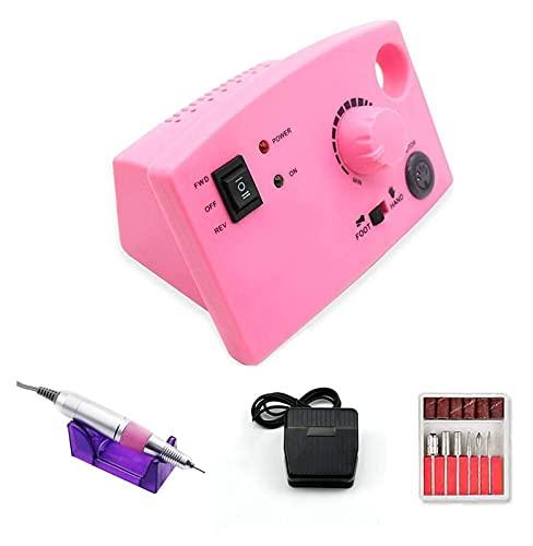 SHUHANG Taladro de uñas 35000/20000 RPM 19.5 / 12W Taladro eléctrico eléctrico Máquina de manicura Pedicura Accessoires Archivo con bit (Color : Pink, Size : 5.91x3.54x3.15in)