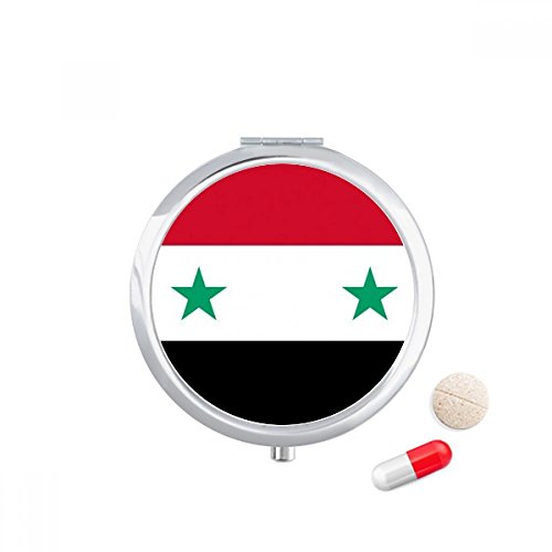 DIYthinker Syrië Nationale Vlag Azië Land Reizen Pocket Pill case Medicine Drug Storage Box Dispenser Spiegel Gift