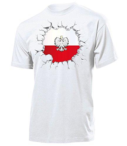 Polen Polska Poland Polski Polnische Koszulka Fanshirt Fussball Fußball Trikot Look Jersey Herren Männer t Shirt Tshirt t-Shirt Fan Fanartikel Outfit Bekleidung Oberteil Hemd Artikel