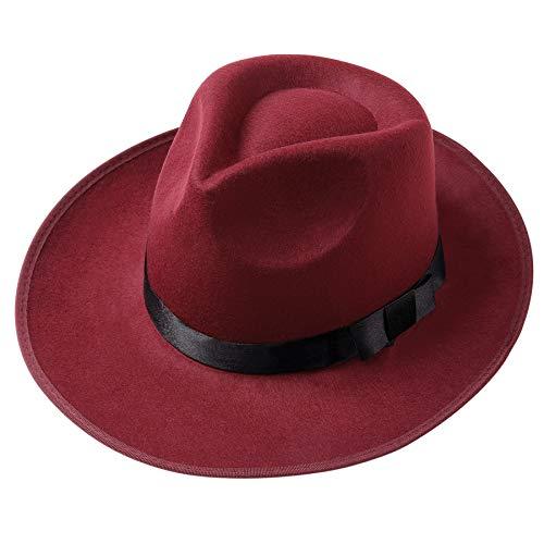 Coucoland Chapeau Feutre Homme Panama Fedora Homme 1920s Gatsby Panama Chapeau Homme pour Soirée Party Accessoires de Costume (Rouge Vineux)