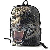 Mochila de viaje unisex con diseño de gato grande Jaguar con dientes de sonrisa, informal, para viajes, camping, al aire libre, mochila para portátil