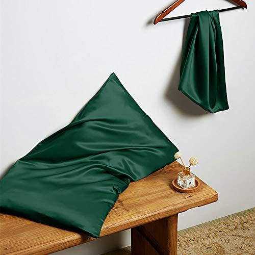 THXSILK - Fundas de almohada de seda con cremallera de 22 Momme, natural de morera, seda, funda de almohada para el cabello y la piel, seda, Vert Émeraude, 40 x 60 cm