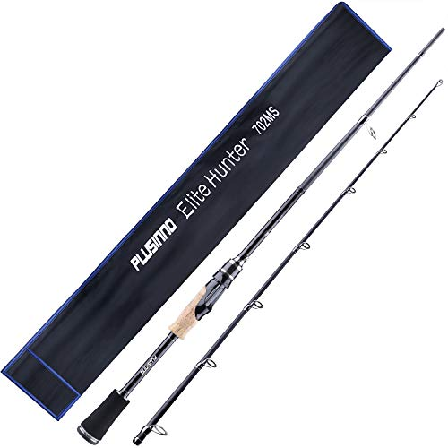 PLUSINNO Two-Piece Spining Casting Fishing Rod, Graphite Medium Light Fast Action Bass Baitcasting Fishing Rods 7FT 2pc Freshwater Saltwater Fishing Rods