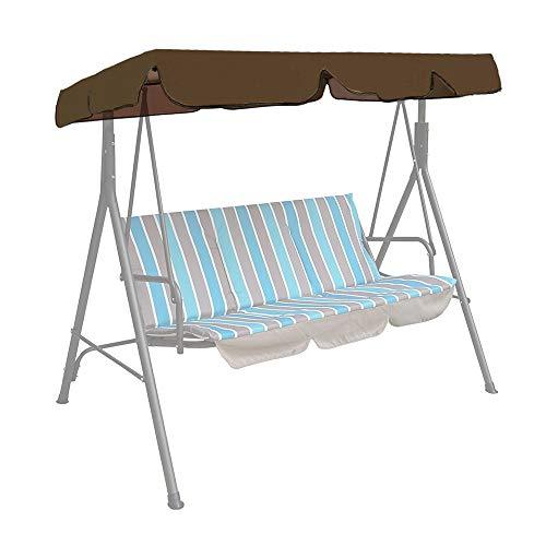 ODOMY - Telo per dondolo da giardino a 3 posti, tetto di ricambio per dondolo esterno in poliestere, impermeabile, anti-UV, per altalena da giardino, terrazza, balcone