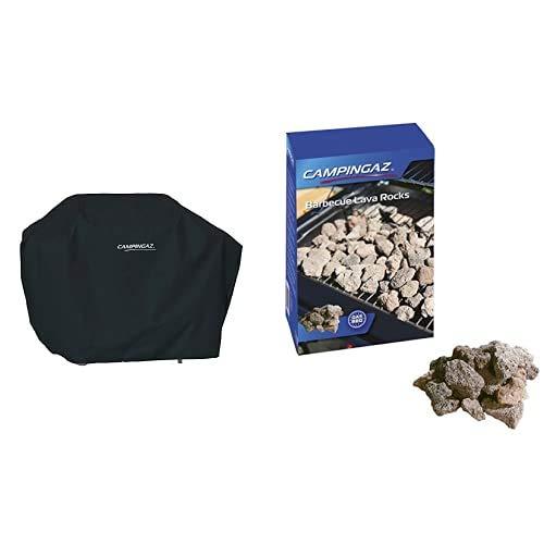 CAMPINGAZ 2000031417 Barbacoa Universal, Negro, 136 x 105 x 62 cm + 205637 Piedras Lava, 3 kg