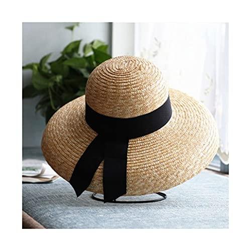 Sombrero para el sol Sombrero de paja de mujer Sombrero ancho Sombrero de sombrero de trigo natural Sombrero de verano sombrero sombrero sombrero sombrero Sombrero de playa ( Color : A , Size