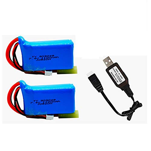 7.4V 1100mah Li-Po Battery with Small Tamiya Plug for PXtoys 9300 9301 9301-1 9302 9303 9303-1 1/18 Scale Rc Car 2 Pack with USB Charger