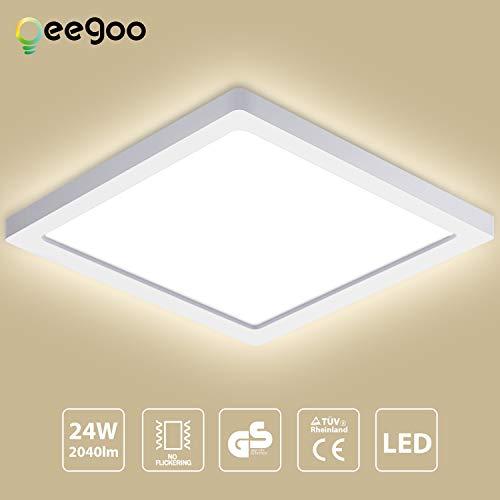 Oeegoo 24W LED Plafón de Superficie Cuadrado, Lámparas de Techo 2040Lm, Reemplaza Bombilla Incandescente 180W, 29 * 29*H1.3CM Ultrafino, RA> 80, para Dormitorio Cocina Blanco Natural 4000-4500K