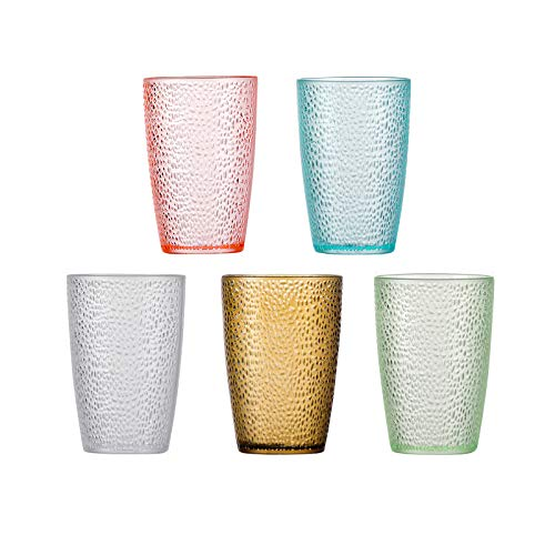 Stackable Hammered Plastic Tumbler Acrylic Glasses, Set of 5, Unbreakable Premium Drinking Cups, Perfect for Gifts, 5 Colors… (12 oz)