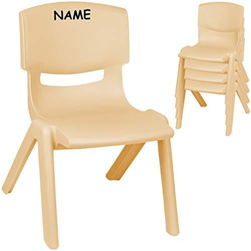 alles-meine.de GmbH 2 Stück - Kinderstühle / Stühle - Farbwahl - Holz Farben - beige - inkl. Name - Plastik - bis 100 kg belastbar / kippsicher - für INNEN & AUßEN - 0 - 99 Jahre..