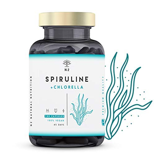 Spiruline Chlorella Gelules Teneur Élevée en Fer, Chlorophylle et proteine vegan. Phycocyanine | Anti Fatigue Vitamine | 2244 mg Algues sans Excipient 180 Capsules Vegan UE N2 Natural Nutrition
