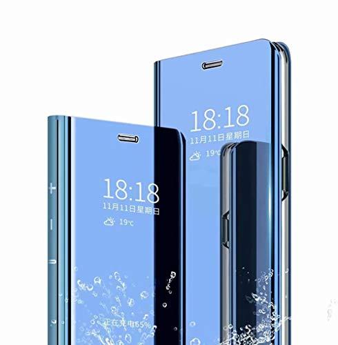 TingYR Hülle für LG K52 Schutzhülle, Plating Spiegel Tasche Cover Smart Handyhülle Schutzhülle Flip Lederhülle Etui, Handyhülle Hülle für LG K52.(Blau)