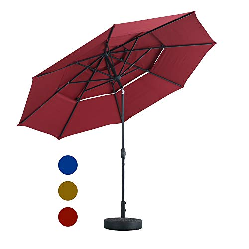LUCKWIND 3 Tier Tilt Patio Umbrella Outdoor Umbrella W/Double Vented Market Table 8 Ribs Tilt Crank, Full Aluminum Frame Commercial Garden Backyard Pool Porch (10 FT, Burgundy)