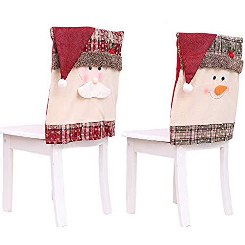 OldPAPA Weihnachten Stuhlhusse, 2Pcs Weihnachten Stuhlhussen Schneemann Weihnachtsmann Stuhlhussen für Weihnachten Festliche Abendtisch Stühle Dekoration Party Decor