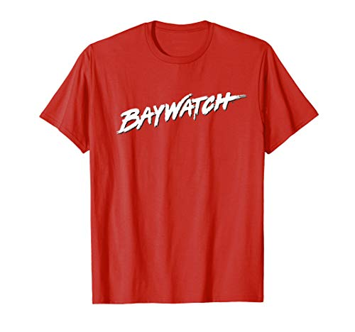 White Baywatch Logo T-shirt, Red, Adults, Youth