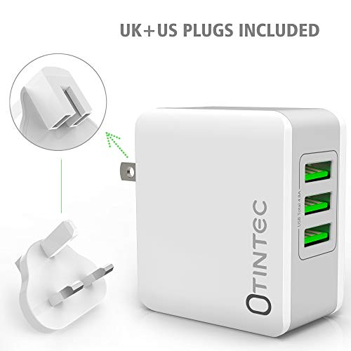 Tintec USB Charger Plug, Universal USB Plug UK/US 3 Ports Rapid 24W/5V 4.8A AC Power Adapter Charger with Fast Charging for Apple iPad, iPhone, Samsung
