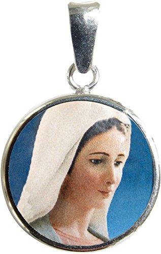 Ferrari & Arrighetti Medalla Virgen de Medjugorje de Plata 925 y Porcelana - 1,8 cm