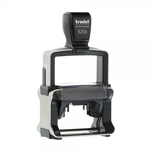 Firmenstempel Trodat Professional 5206 Custom (Text Logo / 56x33 mm - 5 Zeilen) mit personalisierter Textplatte und Stempelkissen