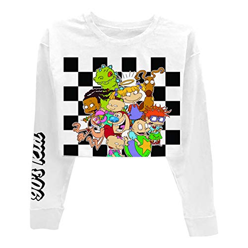 Nickelodeon Ladies 90's Fashion Shirt - Rugrats, Angelica and Chuckie Crop Top with Sleeve Print (White Sleeve, Large)