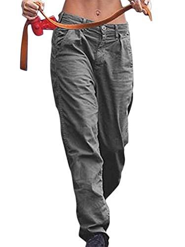 Minetom Mujer Pantalones Casual con Bolsillos Baggy Hip Hop Pantalón Suelto Deportivo Pantalones de Cargo Deporte Gris L