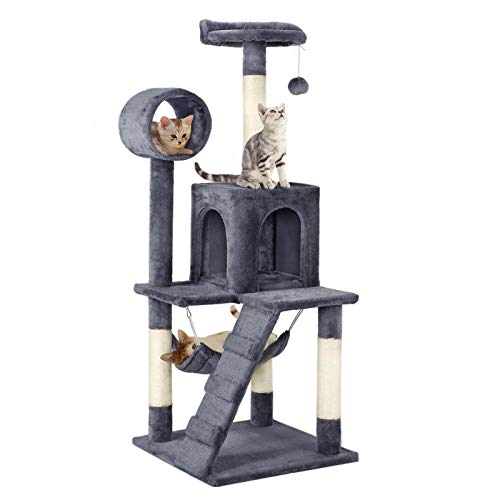 Yaheetech Cat Tree Tower, Kitten Activity Centre with 4 Sisal Cat Scratching Posts/Tunnel/Condo/Hammock, Dark Grey
