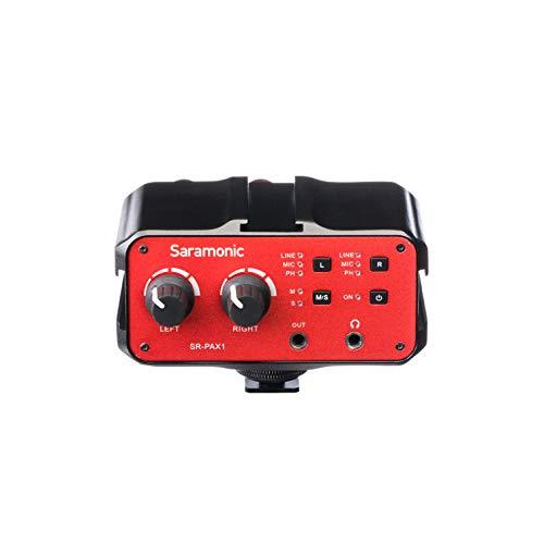 Saramonic 2-Ch XLR, 1 4  e 1 8  su fotocamera Mixer w preamplificatori, uscita cuffie per DSLR Mirrorless Video (SR-PAX1)