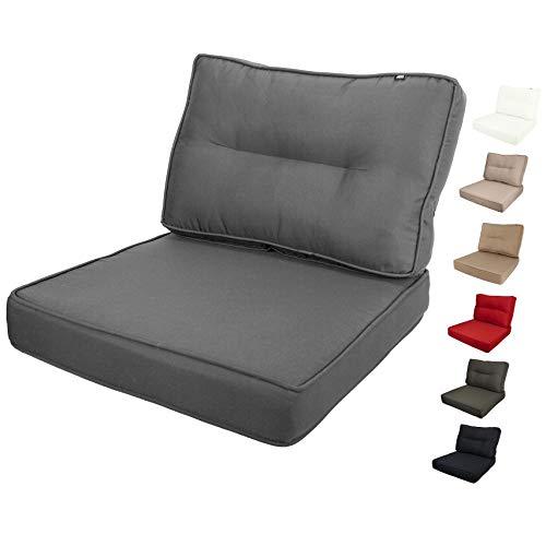 KOPU® Lounge Kissen Set Prisma Mouse Grey | Grau Lounge Sitz und Rücken Kissen | Sitzkissen 60 x 60 x 10 cm | Polster für Rücken 60 x 40 x 14 cm | Robuster Schaumstoff für zusätzlichen Komfort