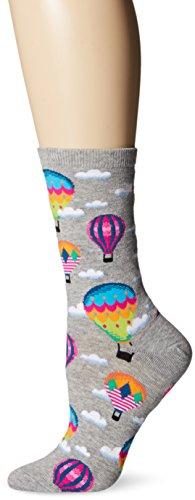 Hot Sox Women's The Outdoors Novelty Crew, Hot air Balloons (Sweatshirt Grey Heather), Shoe Size: 4-10 (Sock Size: 9-11)