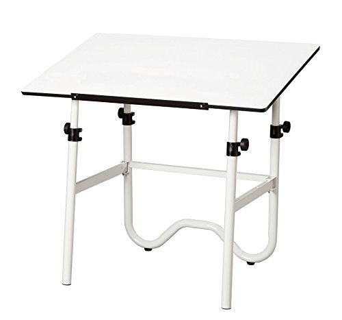 Alvin, Adjustable Foldable Drafting Table, Drawing and Crafting Equipment - Onyx, White/White, 24-inches x 36-inches