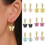 Pendientes de mariposa elegantes para mujer Pendientes de aro colgantes Pendientes de color acrílico 3D Pendientes de mariposa Boho Regalo de joyería