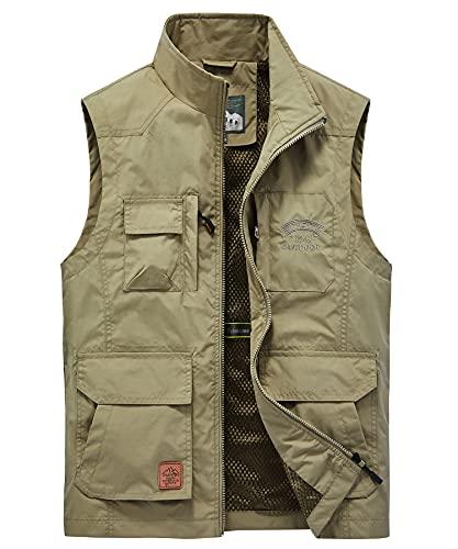 Yukirtiq Herren Sommer Outdoor Weste Leicht Atmungsaktiv Anglerweste Quick Dry Funktionsweste mit vielen praktischen Taschen für Jagd Wandern Safari