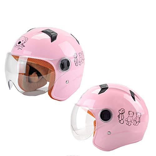 HNLong Batería para niños Casco de Moto niños y niñas Medio Casco Lindo Casco de Verano cortometraje Transparente-Pink Bear_48-56cm
