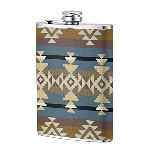 XBYC Mexican Aztec Navajo inspiriertes geometrisches Muster American Abstract Native Ancient Authentic Craft Schnaps- und Trichterkolben 8 Unzen auslaufsicherer Edelstahl-Taschenkolben für Alkohol Wh