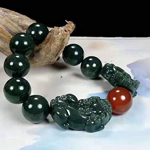 Feng Shui Wealth Pixiu Bracelet Unisex Hetian Cyan Jade Pixiu Pi Yao Red Agate Stretchy Bangle Hand Carved Mantra Bead Talisman for Prosperity Money Good Luck
