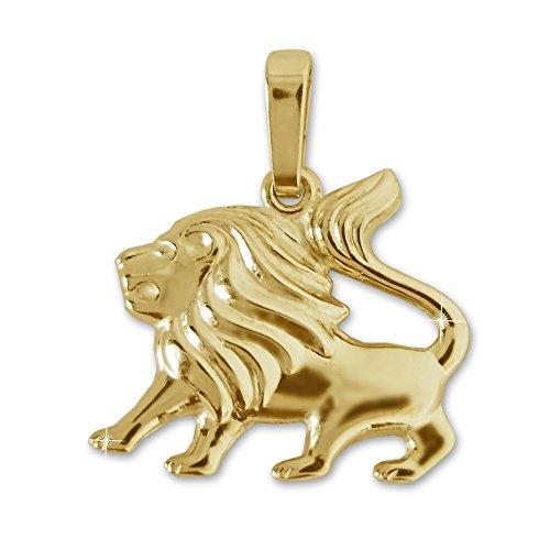 CLEVER SCHMUCK Goldener Damen Herren Sternzeichen Anhänger Löwe 16 x 13 mm glänzend und beidseitig plastische Form 333 Gold 8 Karat