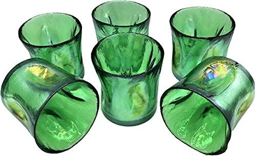 Juego de 6 vasos de colores Murano de la colección Yalos Happy Drink, de 90 mm de diámetro x 90 mm de altura, cristal de Murano fabricado en Italia (azul sky/verde hierra) (verde hierbas)