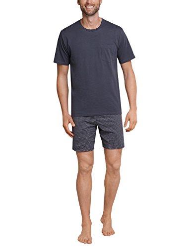 Schiesser Herren Schlafanzug Kurz Pyjamaset, Grau (Anthrazit 203), 54