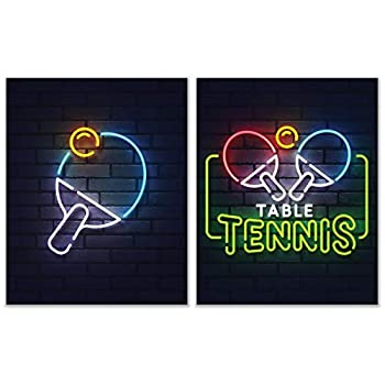Ping Pong Table Tennis Neon Sign Wall Art Decor Prints - Set of 2  8x10  Inch Poster Photos - Basement Bedroom Gift Idea
