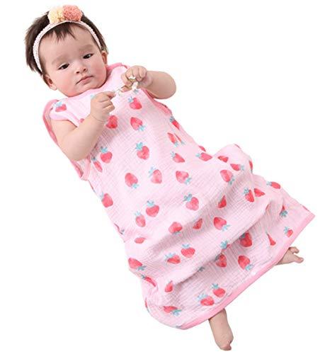 Sommer schlafsack Baby Schlafsack Sommerschlafsack 0.5 Tog Kinder Schlafanzug Babyschlafsack Ärmellos für Neugeborene 100% Baumwolle, Katze (Pink, 90-100cm)