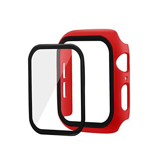 JWWLLT Flyuzi 3D 9H Cubierta Protectora de Pantalla de Cristal Templado para Apple Watch 44mm 42mm 40 mm 38m m Caja de Caja para iWatch Series 2 3 4 5 Película de Pantalla