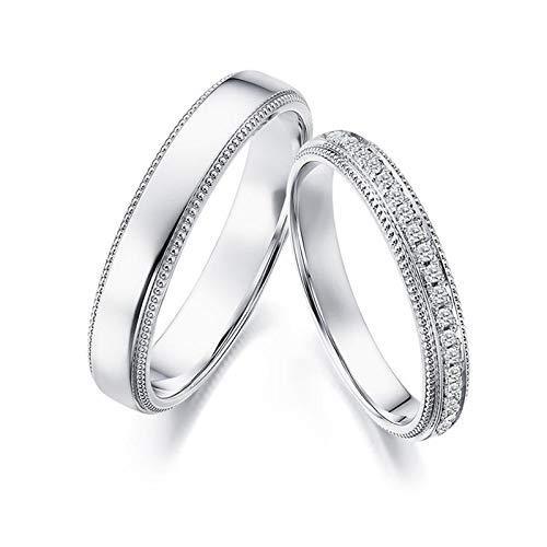 Epinki Anillo Oro Blanco 18k Redondo Diamante 0.09ct joyería de Aniversario de Boda