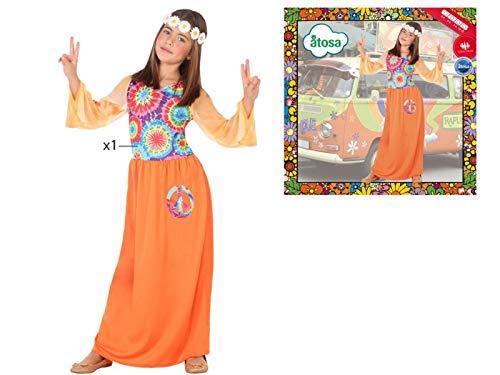 Cisne 2013, S.L. Disfraz de 1 Pieza para Carnaval Infantil niña de Hippie. Color Multicolor. Talla 5/6 años de niño y niña. Cosplay niña Carnaval.