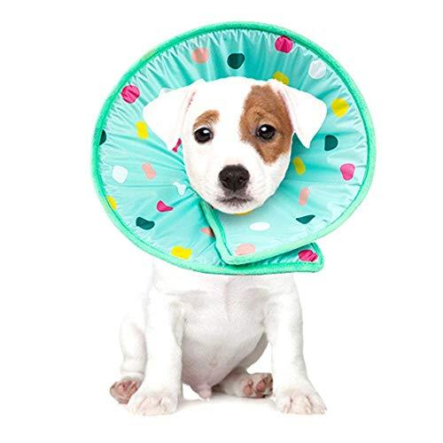 marushin ソフト エリザベスカラー ドット柄 マジックテープ式 柔らか 犬 猫 用 傷口保護 人気 おすす (M)