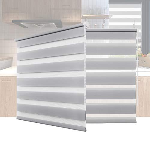 Hunter Mason Doppelrollo Klemmfix Ohne Bohren (Grau 100x130cm) Duo Rollo Transparentes und undurchsichtiges mit klemmträger Sonnenschutzrollo Fensterrollo für Fenster & Türen