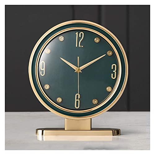 ZCZZ Reloj de Mesa, Reloj de Mesa de Cuero de una Cara para el hogar, Reloj de Mesa con decoración de números arábigos, Reloj de Mesa con Pilas de Chimenea de Vidrio (Color: Azul)