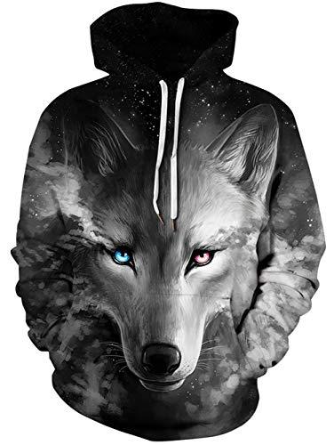 Loveternal Wolf Jumper 3D Gedruckt Pullover Gemusterten Casual Sweatshirt Kordelzug Tasche für Frauen Männer XXL
