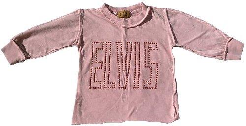 Amplified Niños Kids Joven Chica Boy Girl Long–Camiseta aprico Naranja Official Elvis brillantes personalizada Rock N Roll Star Vintage costuras exterior VIP WOW naranja