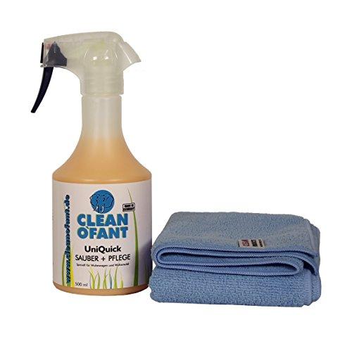 CLEANOFANT Set UniQuick SAUBER+Pflege 500 ml + Mikrofaser-Poliertuch - Waschen ohne Wasser. Reiniger/Pflegemittel mit Versiegelung für Wohnwagen, Wohnmobil, Caravan, Haushalt