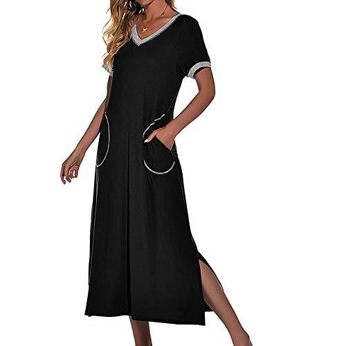 HCOO Nachthemd Damen Ärmellose Nachtkleid Baumwolle Nachtwäsche Rundhals Schlafshirt Lose Umstandskleid Mittellanges
