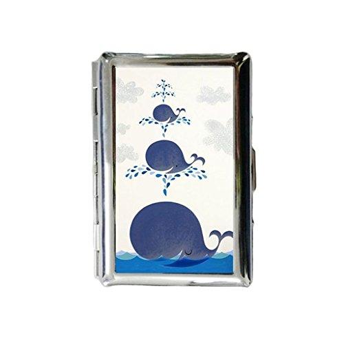 Glimlachende walvissen op maat gegraveerde metalen sigarettenhouder geval, sigarettenetui of portemonnee.